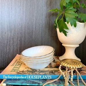 Set of 4 Vintage 1960's Milk Glass Dessert Bowls